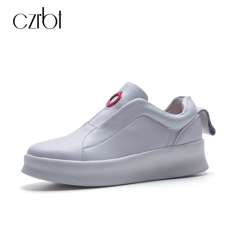 где купить CZRBT Top Selling Women Shoes Genuine Cow Leather Platform Shoes Concise Solid Color Casual Flat Shoes Woman Handmade Shoes по лучшей цене