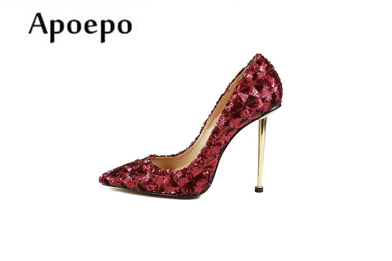 Apoepo 2018 Hot Selling High Heel Shoes Sexy Pointed Toe Red Glitter Embellished Wedding Shoes Woman Stiletto Heels hot selling silver leather pointed toe high heel shoes 2017 sexy thick heels crystal embellished pump cutouts ankle strap shoes