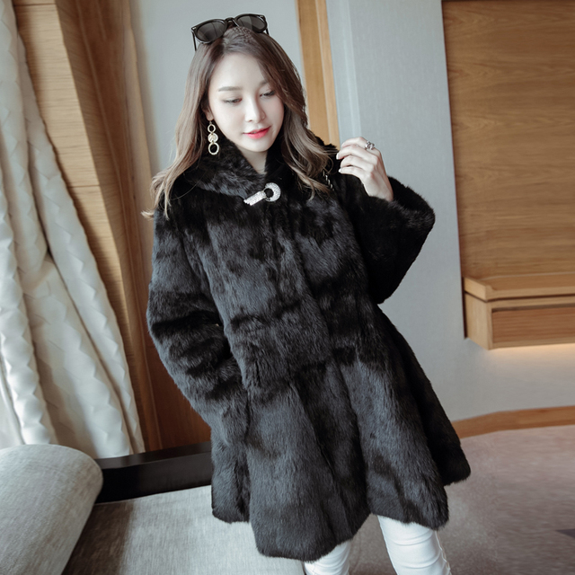 3a5a3ae72161 Loose Fit Hooded Whole Skin Natural Rabbit Fur Coats Women Crystal Stone  Full Sleeve Warm Winter Real Fur Jacket Female Overcoat