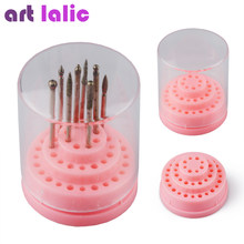 Artlalic 1pc 48 Holes Professional Nail Art Drill Bit Holder Exhibition Stand Displayer Nail Manicure Tool Acrylic Cover Box(China)