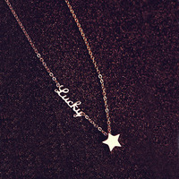 Luxury Brand Stainless Steel Titanium Steel 18k Rose Gold Plated Star Luckly Letter C Necklace Women