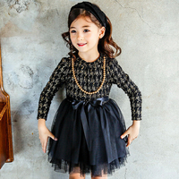 New 2018 Spring Autumn Wedding Party Princess Dresses High Quality Girls Long-sleeve Lace Bow Dress For Baby Girl Clothing