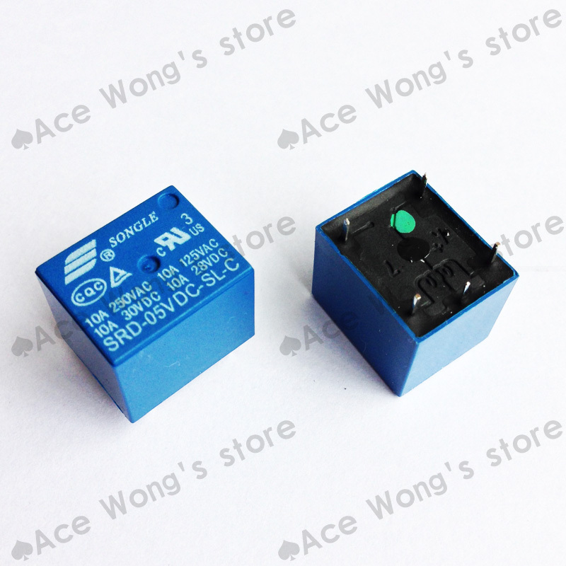 100 PCS LOT 5V DC SONGLE Power Relay SRD 5VDC SL C PCB Type In