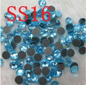 SS16 Aquamarine 2*1440pcs glass hot fix stone crystal hotfix rhinestone DMC stone Crystal DIY jewelry accessories