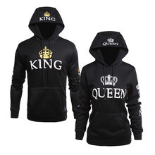 2019 Spring King Queen Printed Hoodies Women Men Sweatshirt Lovers Couples Hooded Hoodies Sweatshirt Casual Pullovers(China)