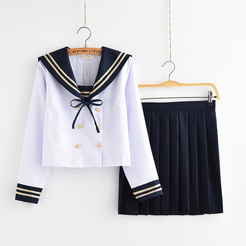 Filles uniformes scolaires japonais pour JK marinière à manches longues t-shirt Style Preppy collège Sexy jupe femme Cosplay Costume - 2