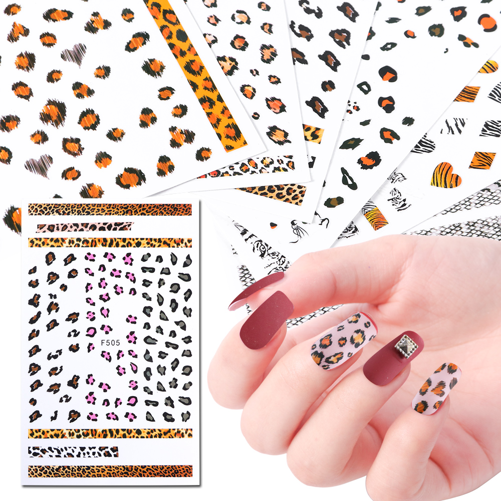US $0 55 16% OFF|1pcs Nail Stickers Decals Leopard Print Animal Pattern  Design 3D Adhesive Manicure Tools Sliders Nail Art Decoration JIF505 510-in