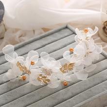 Handmade Korean Style Rhinestone Pearl White Lace Wedding Bride Hair Accessories Gold Leaves Branch Hairband Bridal