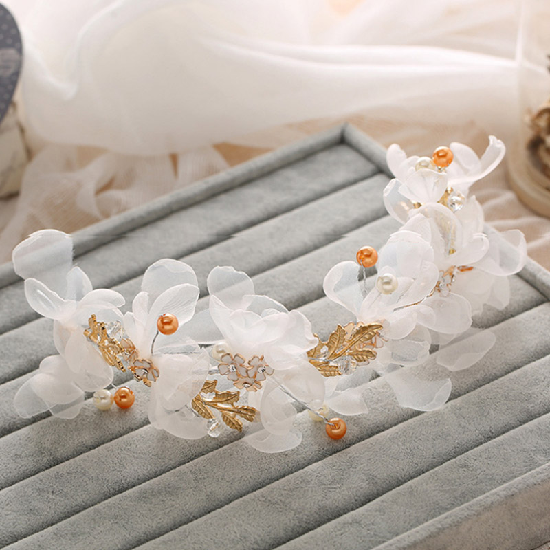 Handmade Korean Style Rhinestone Pearl White Lace font b Wedding b font Bride Hair font b