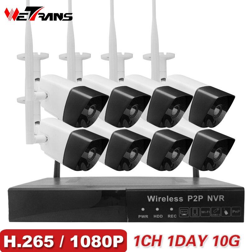 Wetrans Système de Caméra de Sécurité Sans Fil 1080 p H265 Wifi NVR de Surveillance À Domicile de Nuit En Plein Air Vision 8CH Kit Caméra IP CCTV ensemble