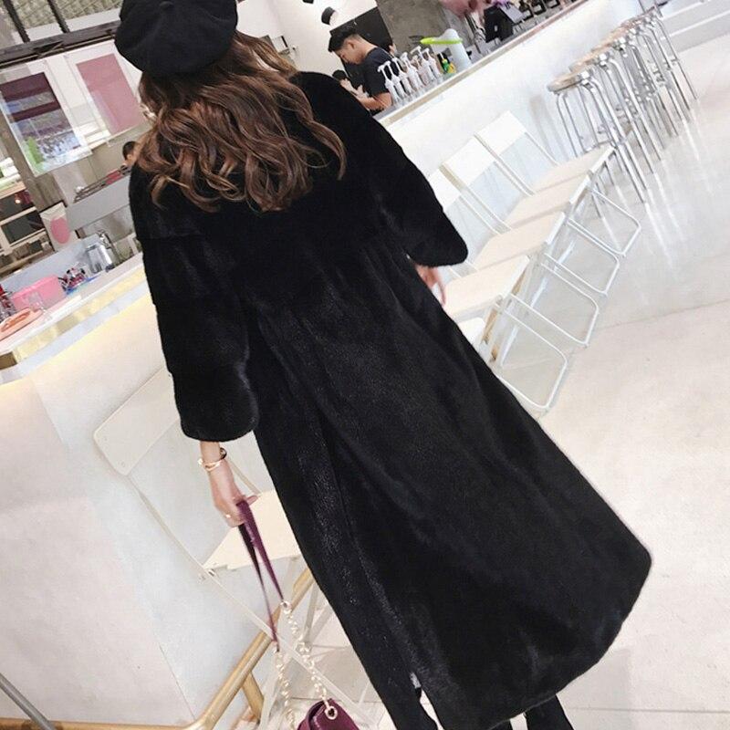 Importations Noir Manteaux D'hiver Vison Américain 2019 Réel O X De Fourrure cou long Beige Causal Manteau Femmes noir Naturelle Lvchi OqnxZTwFF