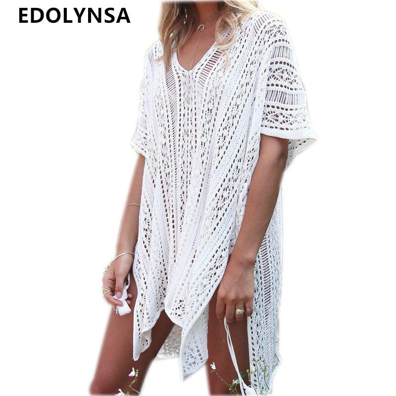 Nuevas llegadas Sexy Beach Cover up blanco Crochet Robe de Plage Pareos para las mujeres trajes de baño Saida de Praia Beachwear coverups # Q206