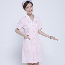 Nurses wear short-sleeved summer dress circle collar to open medical service lab coat Sweet pink
