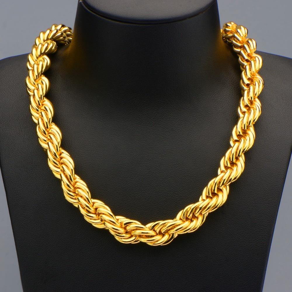 hip hop big long rope necklace for men gold color thick