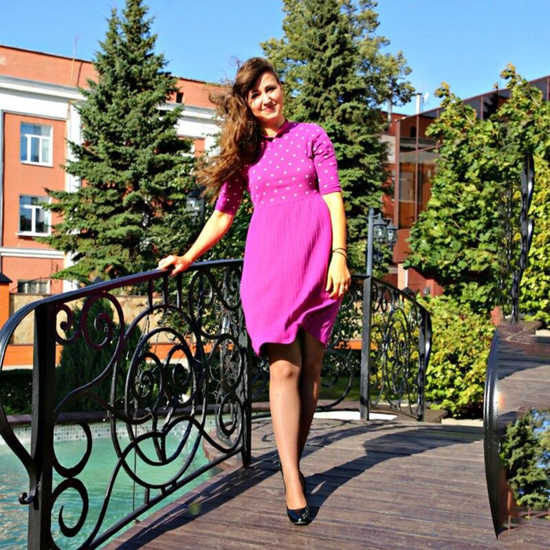 Sisjuly Women Autumn Sweater Dress Girls Half Sleeve Purple Round Neck Knee-Length Dresses Girls A-Line Sweater Dress