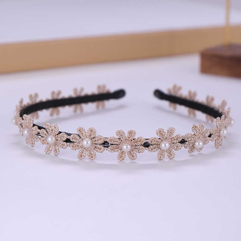 1 PC pas cher perle bandeaux pour femmes mariée fleur filles bandeaux mariage cheveux accessoires fait main casque cheveux ornements