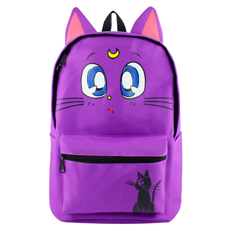Anime Sailor Moon Backpack Cartoon Sailormoon Purple Cat -8809