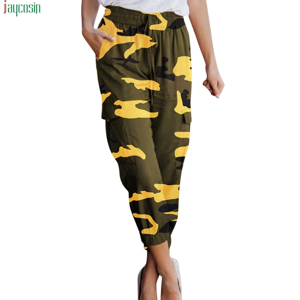 JAYCOSIN Women's Fashion cargo pants women Summer Camouflage Europe America Print Casual Foot Pants for women streetwear 2019 thumbnail