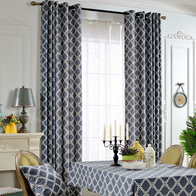 European Brief Style Cotton Blockout Cloth Curtain Geometric Printed Dark Blue For Living Room Bedroom