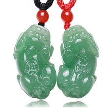 New Aventurine DongLing Stone Pendant Handmade 3D Carved PIXIU Fortune Lucky Women Men's Amulet Jades Jewelry Pendants With Rope