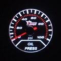 Universal 52mm medidor de Fumaça Led backlight Branco Corrida Reequipamento Acessórios Do Carro Escala Analógica medidor De pressão de Óleo calibre auto