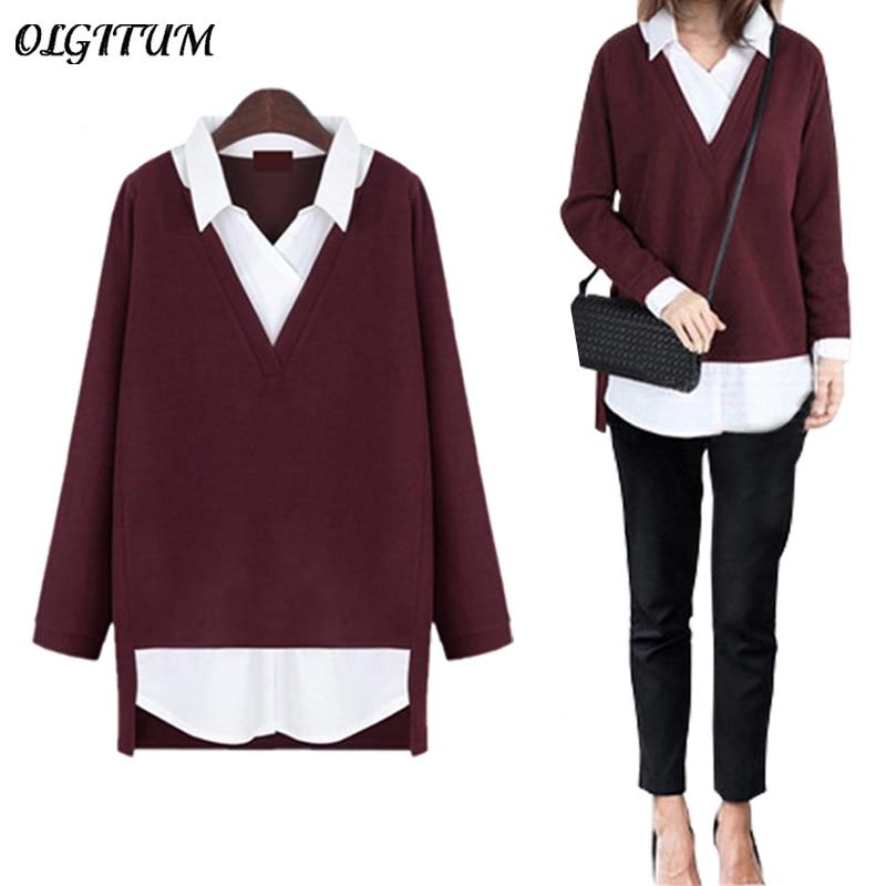 2019 New Women Tops Fake Two-piece Shirt Turn-down Collar Sweater Slim Fashion Clothing Women Sweater Plus Size 5XL