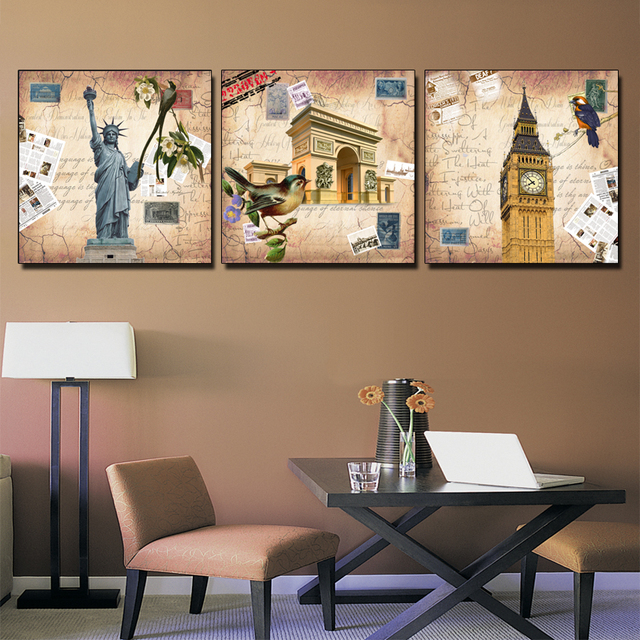 3 panel wall painting set vintage wall art canvas prints europe american style famous building classical
