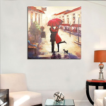 Romantic Hand-painted frameless decorative kiss in the rain pictures painting modern abstract oil on canvas