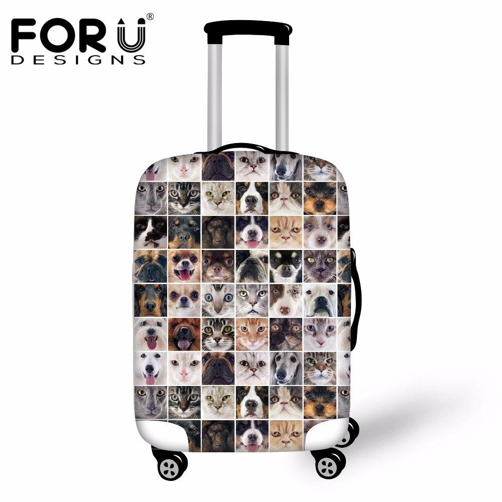 Forudesigns милая собака головоломка кошка узор Чемодан Защитная крышка спандекс Туристические товары Водонепроницаемый чемодан дождевик 2017