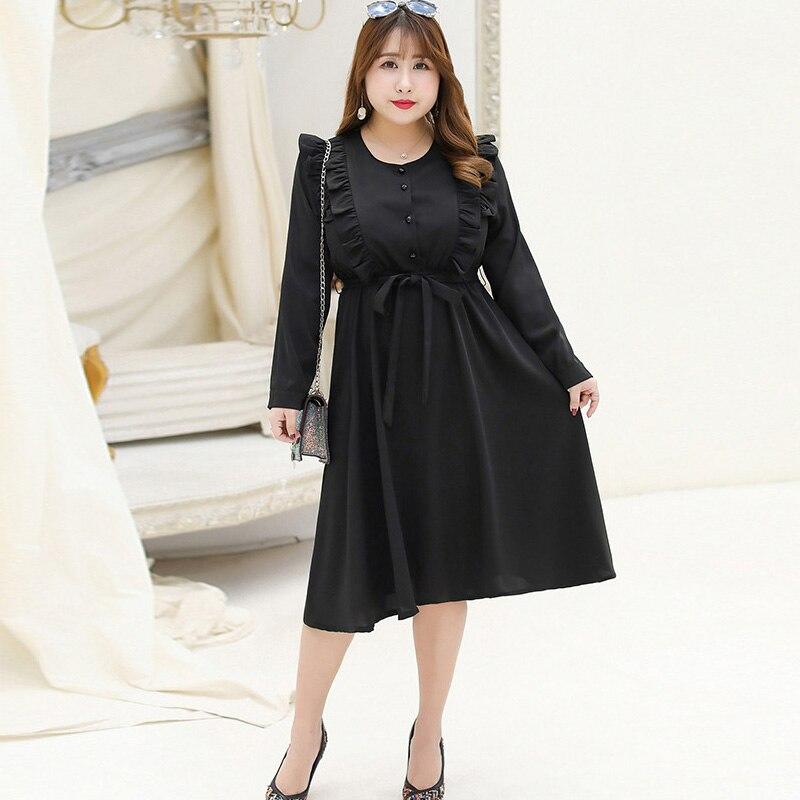 2019 printemps été femmes grande taille 4XL 5XL en mousseline de soie o-cou à manches longues robe ceinturée pour grosse robe de soirée élégante grande taille vestidos