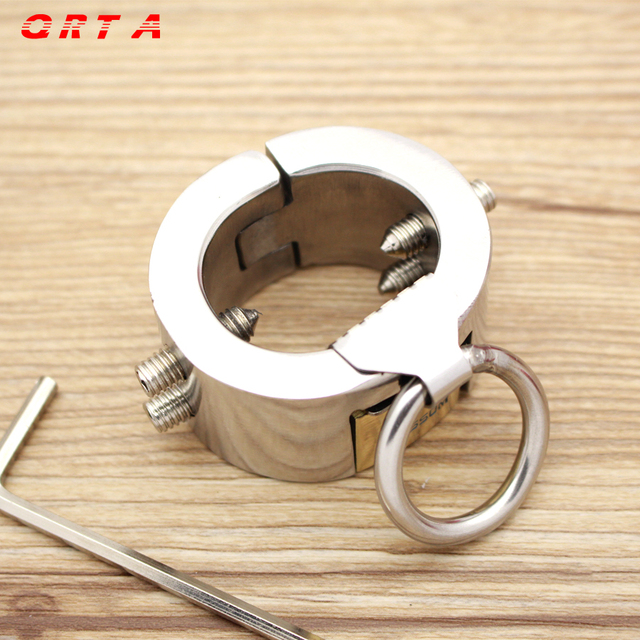 QRTA, 200g Weight Stainless Steel Metal Screw Locking Penis Ring,Scrotum Testicle Lock,Cock Ring,Cock Clamp,Adult Game