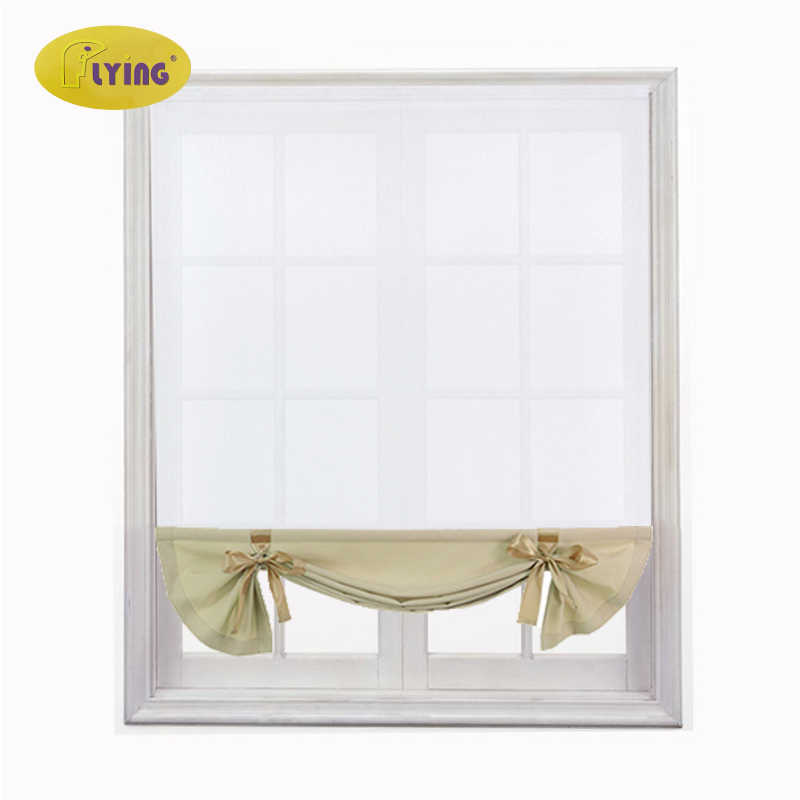 Flying Kitchen Short Sheer Burnout Roman Blinds Curtains Bow White Sheer Panel Tulle Window Treatment Door Curtains Home Decor Curtains Aliexpress