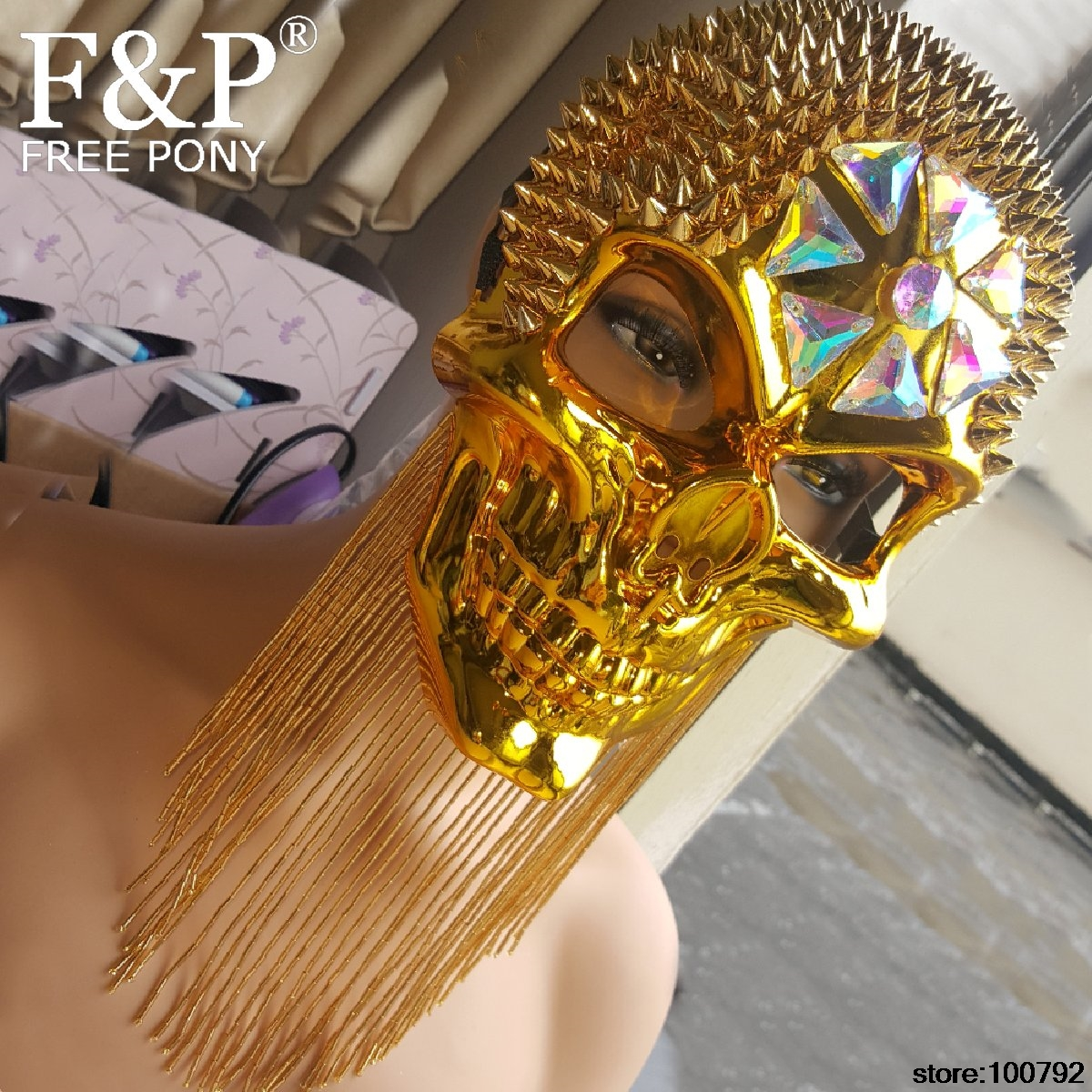 Holographic Burning Man Gold Skull Spike Face Mask Steampunk Costume Summer Musical Festival Rave Clothes Outfits Gear
