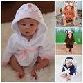 Nueva Luvable Amigos Animales Charater Cuadrados Toalla de Baño Con Capucha Set Producto Del Bebé Bata Bebé 100% Algodón de Dibujos Animados Infantiles Toallas de Baño