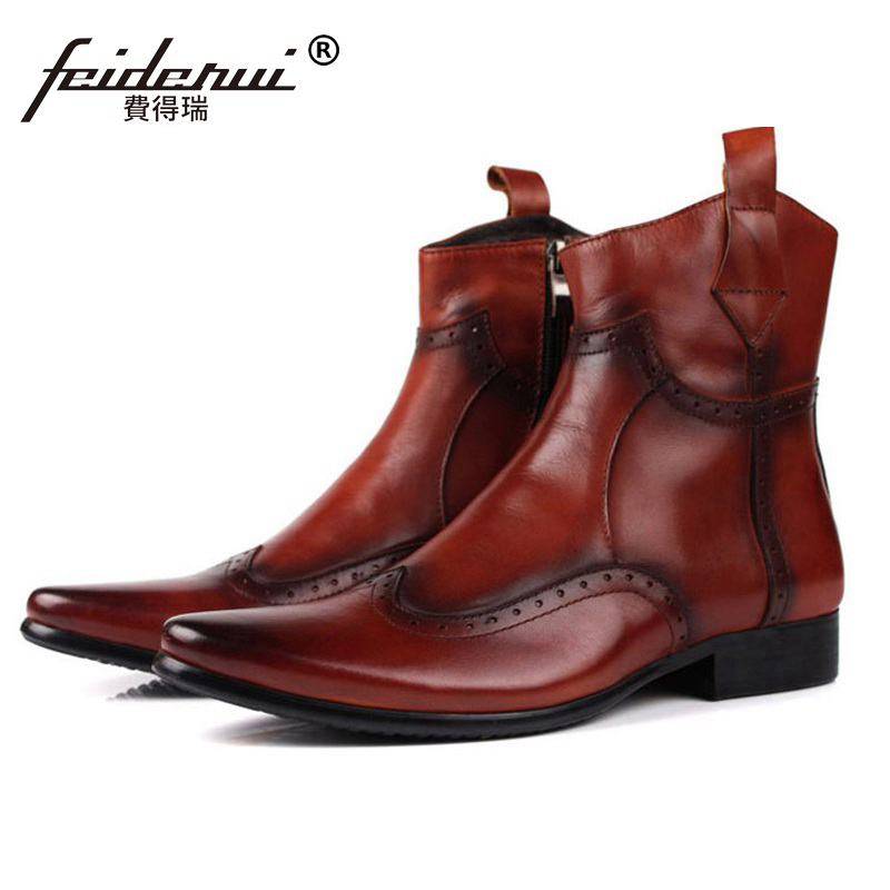 New Luxury British Carved Brogue Oxfords Man Shoes Vintage Genuine Leather Mens Pointed Toe  Motorcycle Ankle Boots EC24New Luxury British Carved Brogue Oxfords Man Shoes Vintage Genuine Leather Mens Pointed Toe  Motorcycle Ankle Boots EC24