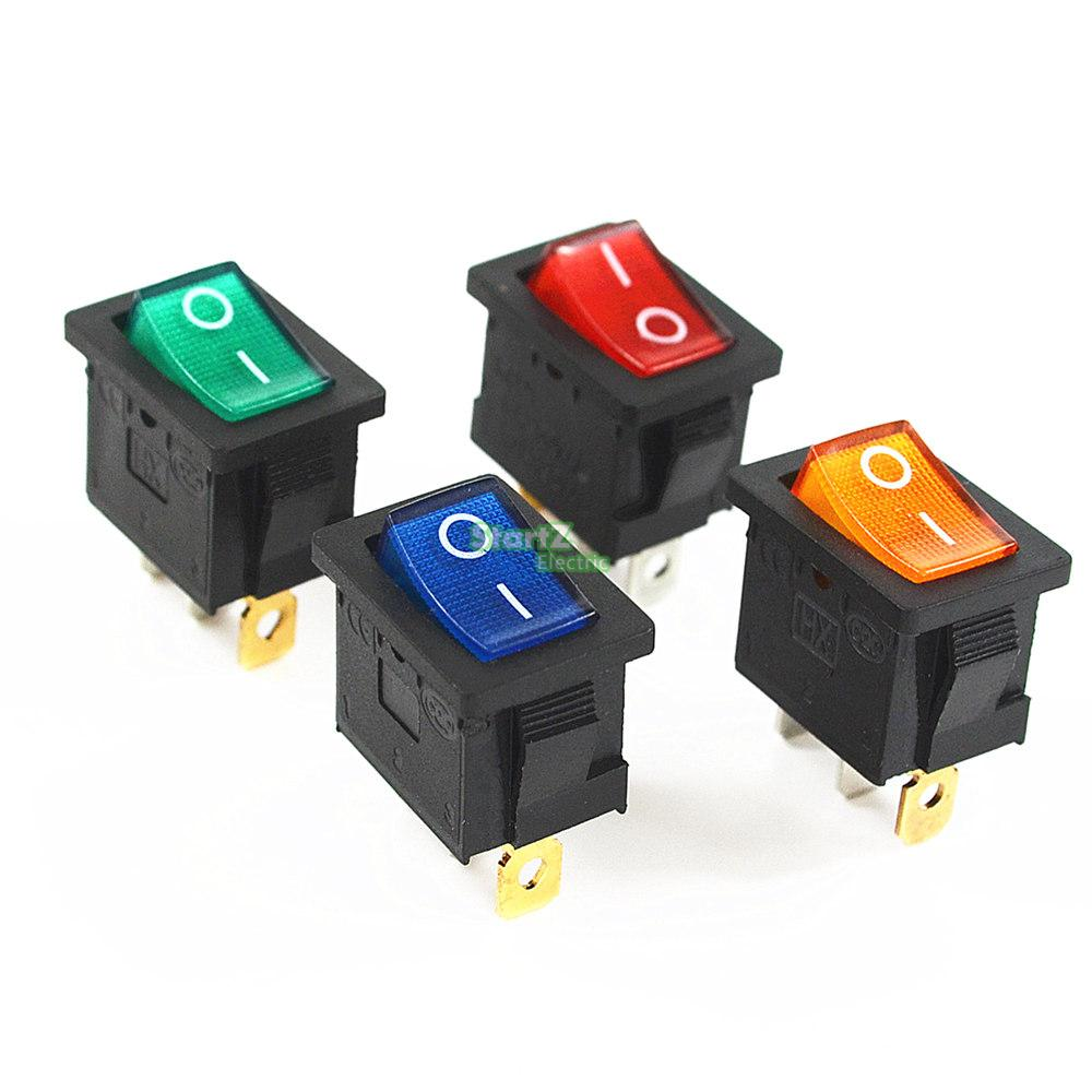 цена на 5Pcs KCD3 Red Button On-Off 3Pin DPST Boat Car Rocker Switch 6A/10A 250V/125VAC
