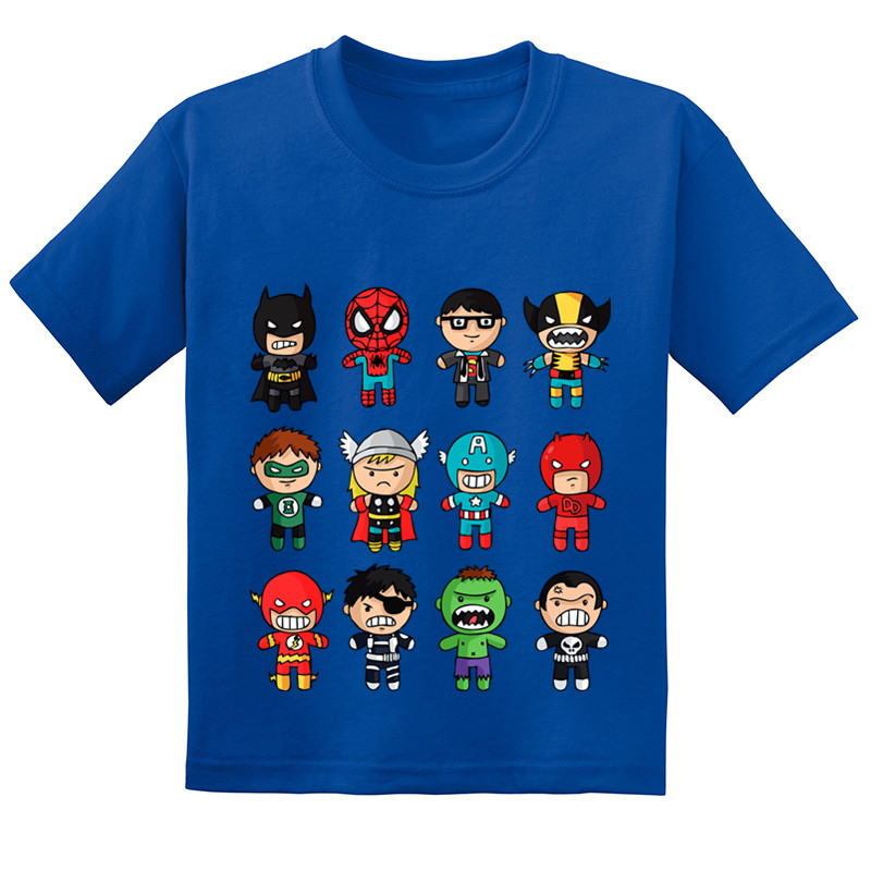Cartoon Avengers Baby Super Hero Kids Funny T-shirts Summer Children Cotton Short Sleeve T shirt BoysGirls Tops TeesGKT228