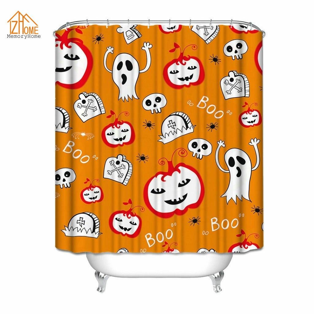 Halloween shower curtain - Memory Home Halloween Shower Curtain Pumpkin Skull Boo Shower Curtain For Bathroom Print Polyester Waterproof Shower