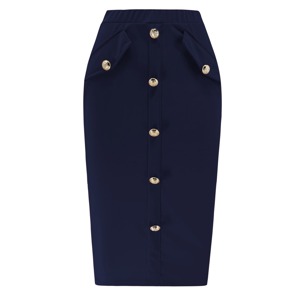 Elegant Office Lady Bodycon Skirt Summer Solid Front Button Pockets Skirts Women High Waist Pencil Skirt Faldas Mujer Moda Saia