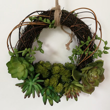 2017 New Natural Artificial Succulent Plant Wall Hang Flower Garland Wreath Wedding Home Furniture Decor Green FL7005
