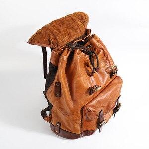 Image 4 - Warzyw skóry wołowej garbowanej męska plecak mężczyzna Retro torba o dużej pojemności mężczyźni wiadro podróży plecaki nowy oryginalny 2020