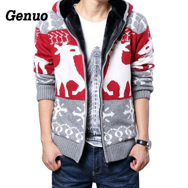 Genuo Winter Cardigan Sweater Coat Men Fashion Hooded Sweaters Thicken Christmas Knitting Jumper Elk Pattern Male Top pull homme
