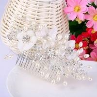 Bella Fashion Austrian Crystal Flower Wedding Bridal Hair Comb Rhinestone Pearl Headpiece Side Comb For Women
