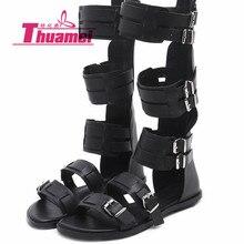 Модные пикантные женские босоножки на плоской подошве; обувь в гладиаторском стиле; сезон весна-лето; Женская Удобная Обувь На Шнуровке; цвет белый, черный;# Y0742512Q