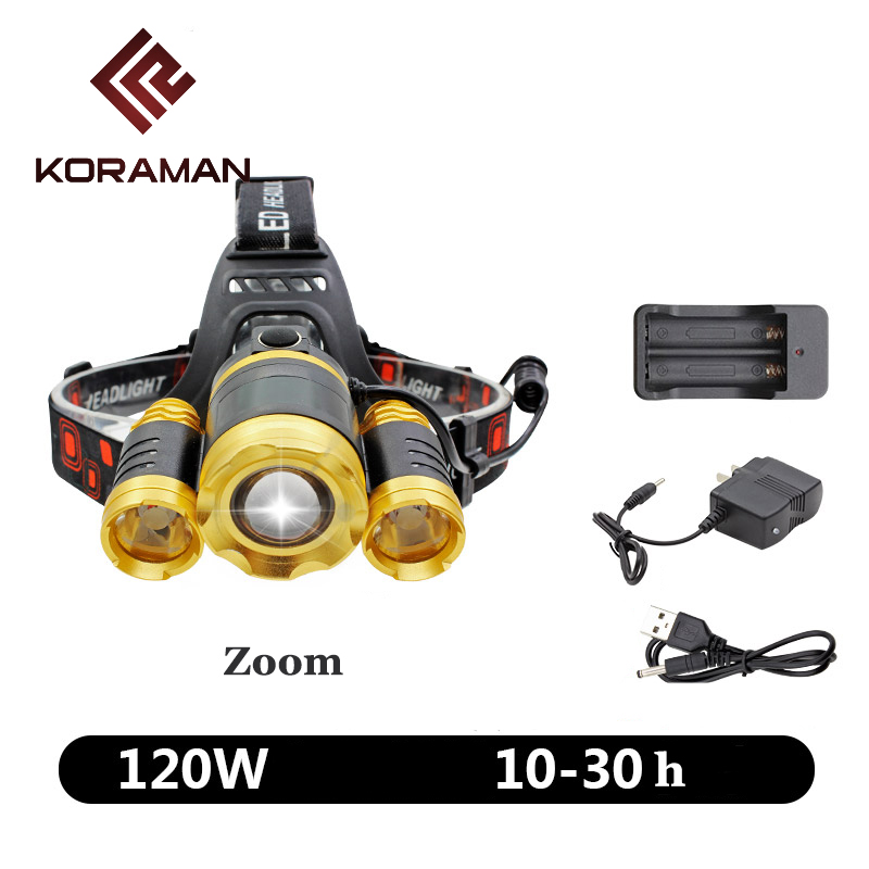KORAMAN led T6 Outdoor durable strong Camping headlight tent lamp mountaineering ride light fishing hiking climbing equipmentT2D