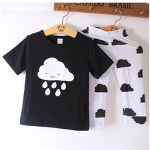Fashion Baby Suits Cotton Raining Cloud Short Sleeve 2PCS Sets Girl Boy Casual Outfit Baby Toddler Clothing Costume