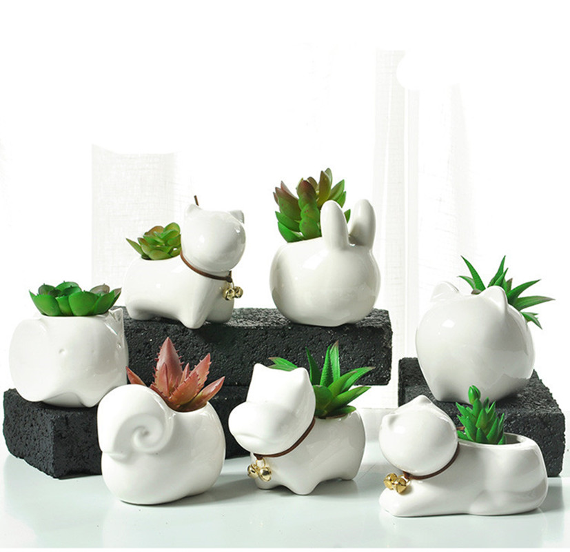Aliexpress Com Buy Mini Ceramic Flower Pot White Animals