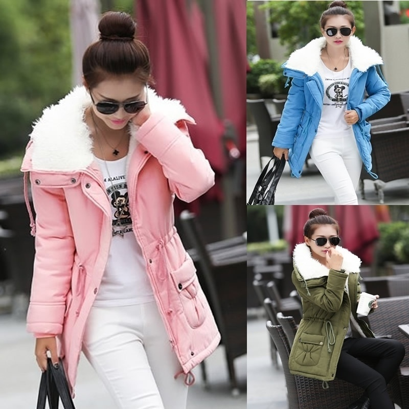 JRNNORV Fashion Winter Jacket Women Slim loose Outwear Medium-Long Wadded Jacket Thick Cotton Jacket Warm Fleece   Parkas   S-2XL