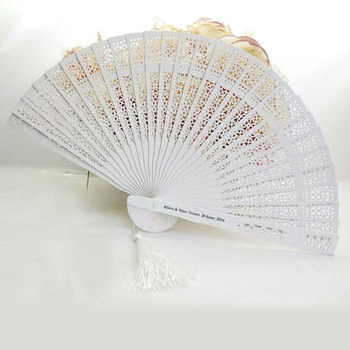 50Pcs/Lot White Fan For Wedding,Personalized Folding Hand Fan Favor With Organza Bag And Tassel,Custom Bride Groom Name & Date