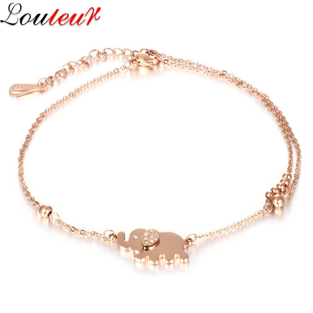LOULEUR 2017 Rose Gold Color Tiger Charm Ankle Bracelets for Women